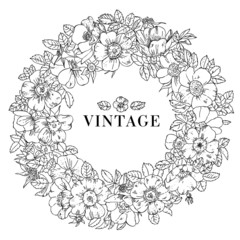 Vector vintage flower wreath with roses and leaves