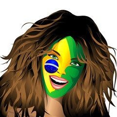 Brazil Flag Painted on Happy Girl Face
