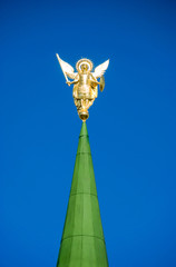 Archangel Michael on the steeple of the church.