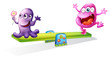 A pink and a violet monster playing