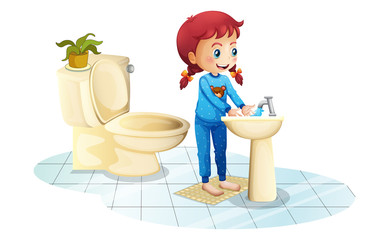 A girl wearing a blue sleepwear washing her hands
