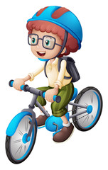 A young man biking