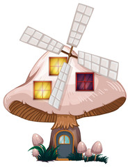 A mushroom house with a windmill