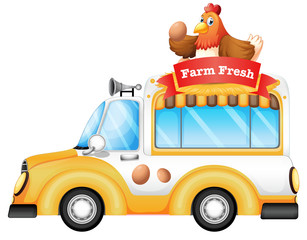 A vehicle selling farm fresh products