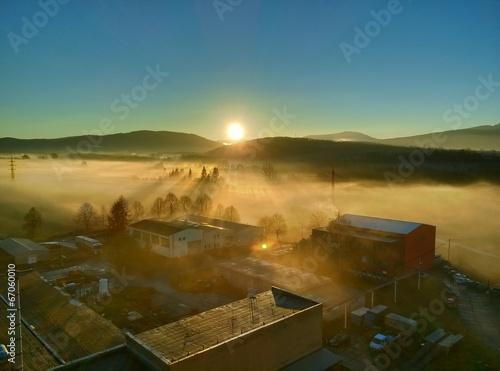 Beautiful cold morning spring sunrise