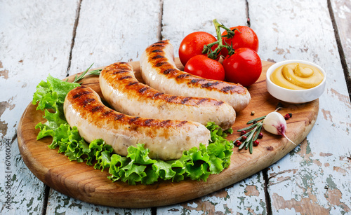 canvas print picture Grilled chicken sausages