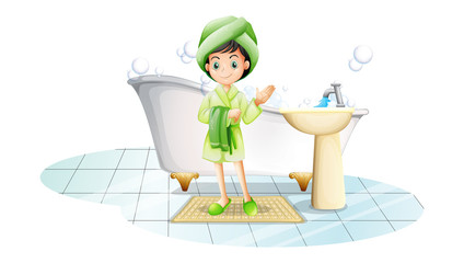 A young lady taking a bath with a green towel