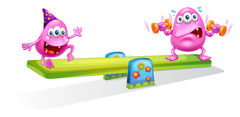 Two pink monsters playing with the seesaw