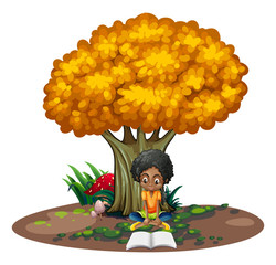 A black woman reading under the tree