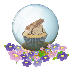 A crystal ball with a cupcake inside