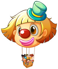 A big clown balloon with a basket full of happy kids