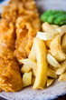 Traditional english food - Fish and chips with mushy peas - 67060864