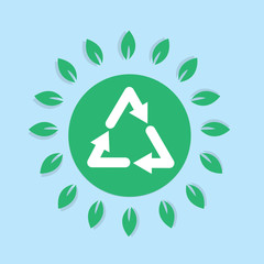 Recycle symbol with surrounding leaves