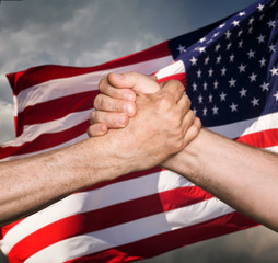 Patriotic concept. Handshaking