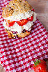 Delicious freshly baked scone filled with thick clotted cream