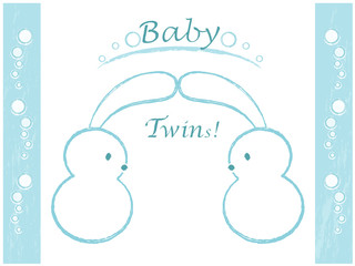 Vector illustration, baby shower, twins