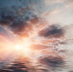Sunset in ocean.