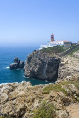 Coastline and lighthouse in Sagres, Portugal
