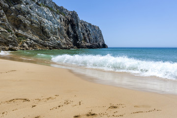 Empty beach and cliff in the Beliche beach, Sagres, Portugal