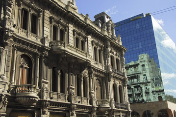 Classic and modern buildings in montevideo