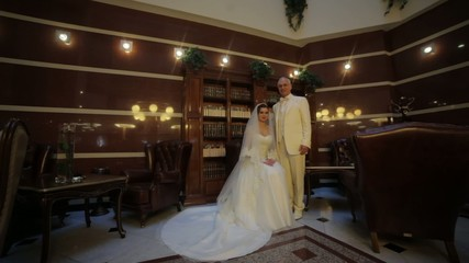 bride and groom in vintage interior