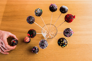 Delicious handmade Cake-Pop in a glass waiting to be eaten