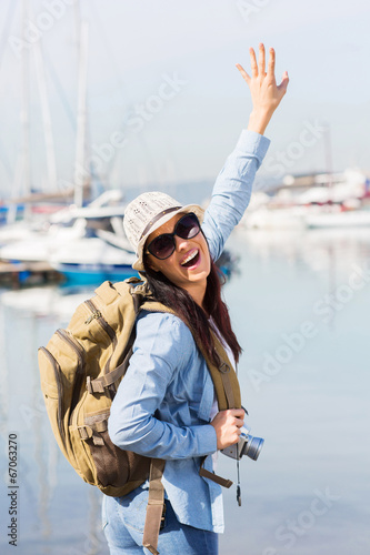 canvas print picture excited young tourist