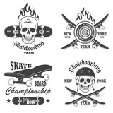 Fototapety Set of skateboarding emblems, labels and designed elements. Set