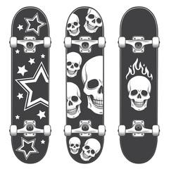 Set of skateboard backgrounds. Skateboard design
