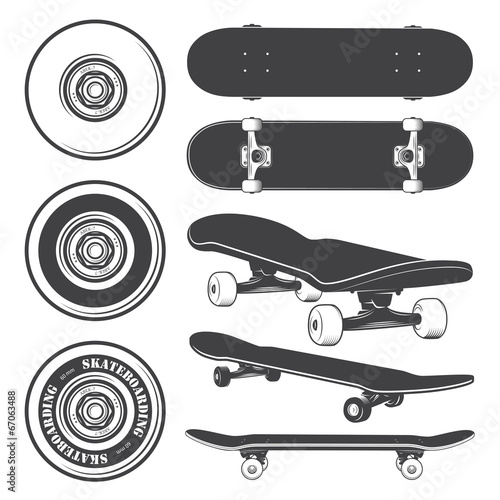 Set of skateboards and skateboarding wheels. - 67063488