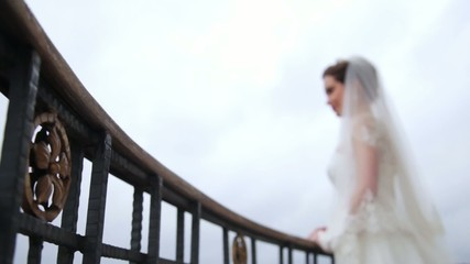 bride waiting in  balcony