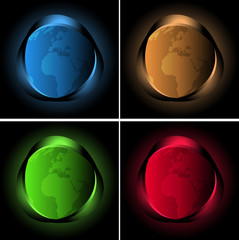 Four abstract background with neon lights and globe