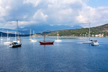 Summer view of boats and yachts in Poros, Greece
