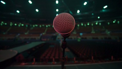 Microphone from the stage to an empty auditorium before show