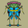 Skull Totem with vibrant color illustration