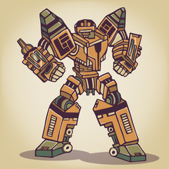Super War Robot Vintage Illustration