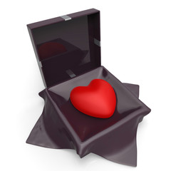 Heart Gift Indicates Valentine Day And Affection