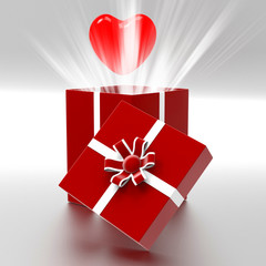 Heart Giftbox Represents Valentines Day And Celebrate