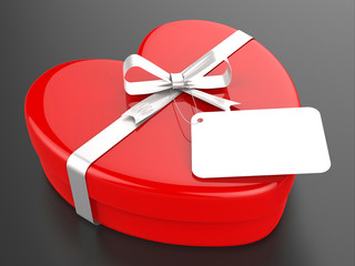 Gift Tag Represents Valentine Day And Card