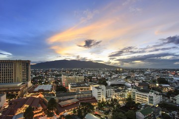 Twilight in downtown of Chiangmai , Thailand