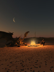 Dragon Riders Camp in Firelight