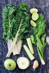 Raw ingredients for healthy vegetable green juice