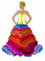 vestito multicolor su sfondo bianco