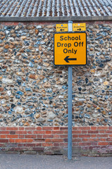Sign post for school drop off only on UK road