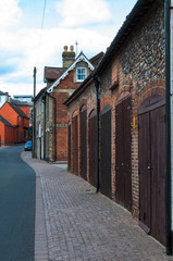 Row of garages in Bury St Edmunds, Suffolk, UK