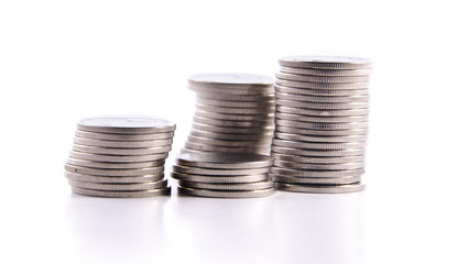 Stack of coin isolate on isolate white background