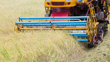 an  harvester in work ,Close up