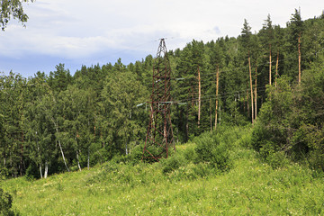 Power lines in the Altai Mountains.