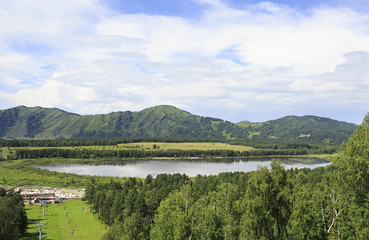 Beautiful summer Manzherok lake in Altai.