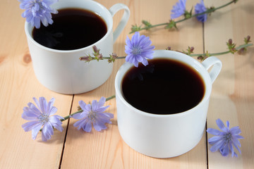 Chicory drink in two white cup